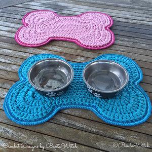 Garnkit för hundskålsmatta i blått