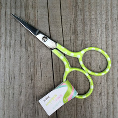 Broderisax - limegrön med prickar