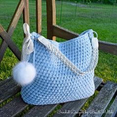 Materialkit till ljusblå virkad väska