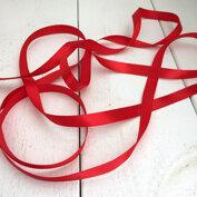 Satinband 12 mm, rött, 2 meter långt