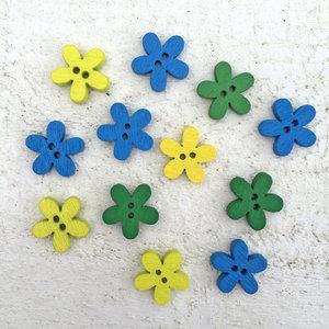 Träknappar - blommor i blått/gult