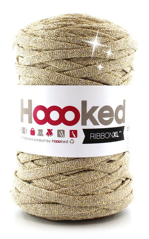 Hoooked Ribbon XL - lurex golden dust